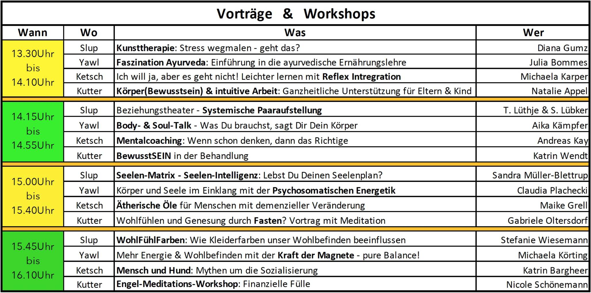 Vortrags- & Workshop-Programm Teil 2